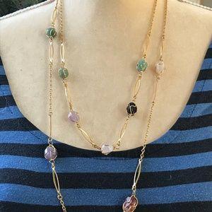 Jewelry - Bundle of 2 '70s Vintage Gemstone & Jade Necklaces